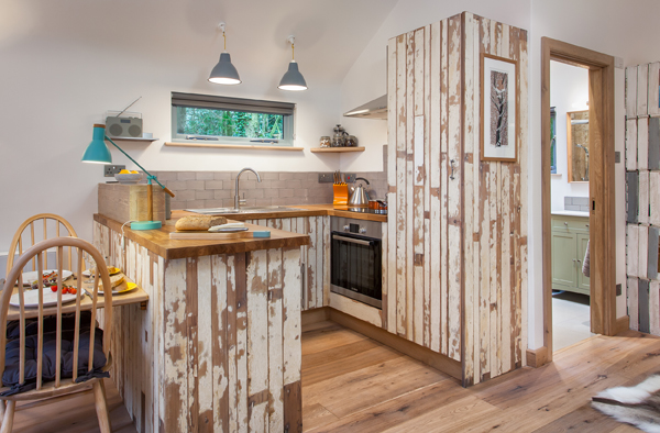handmade reclaimed treehouse kitchen