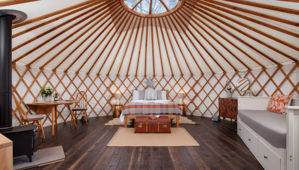 Glamping, Yurt interior, copper, brass, The Yurt Retreat, Holiday