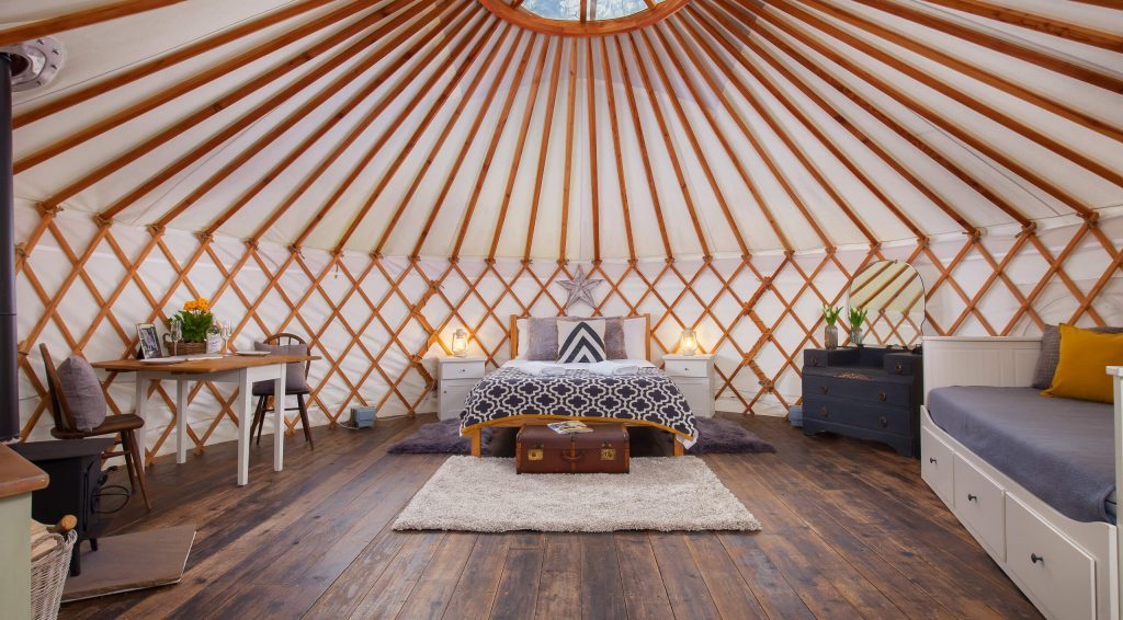 Yurt Interior, glamping, geometrics, The Yurt Retreat, holidays uk,
