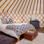 Yurt interior, bed, bed in yurt, Glamping, Holiday, Somerset