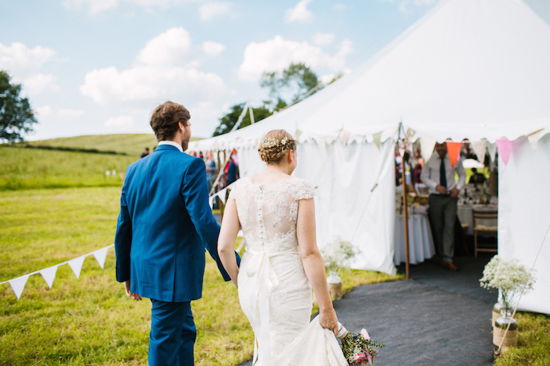 Arrival of the bride and groom, The Yurt Retreat