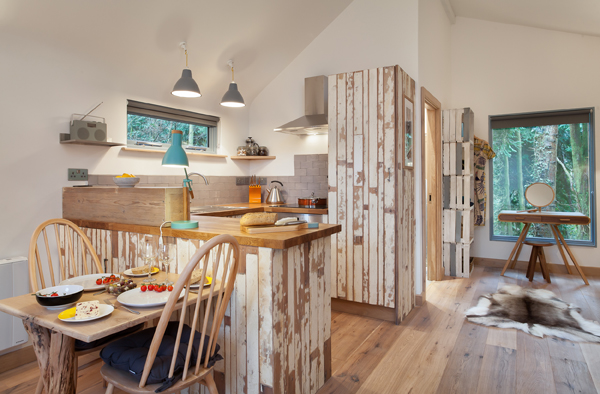 reclaimed kitchen, handmade table, shabby chic wooden crate shelving