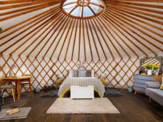 Willow Yurt bed, The Yurt Retreat, Glamping bedroom