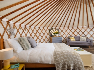 Willow bed and sofa, The Yurt Retreat, Glamping bedroom